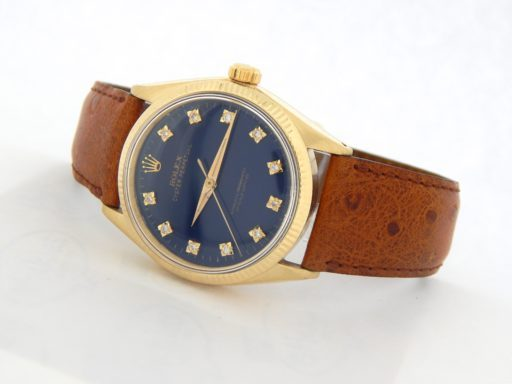 Rolex 14K Yellow Gold Oyster Perpetual 1002 Blue Diamond-7