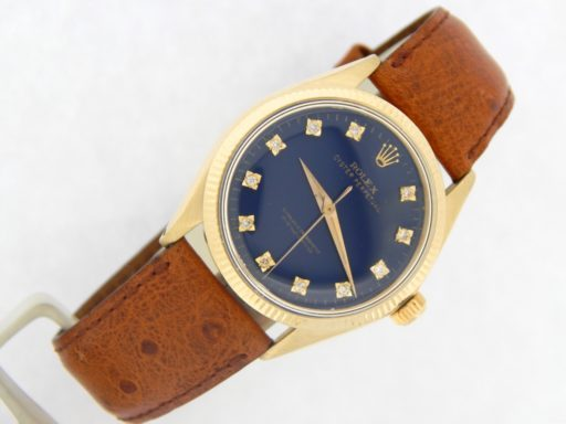 Rolex 14K Yellow Gold Oyster Perpetual 1002 Blue Diamond-12