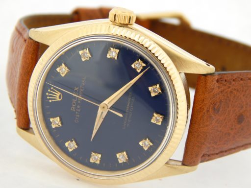 Rolex 14K Yellow Gold Oyster Perpetual 1002 Blue Diamond-5