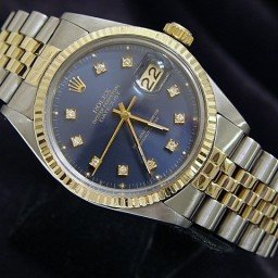 Mens Rolex Two-Tone 14K/SS Datejust Blue Diamond 16013 (SKU DJ381111BNNMT)