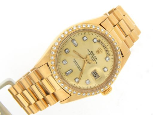 Rolex 18K Yellow Gold Day-Date President 1803 Champagne Diamond-9