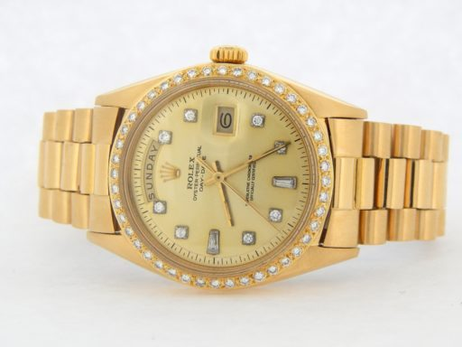 Rolex 18K Yellow Gold Day-Date President 1803 Champagne Diamond-7