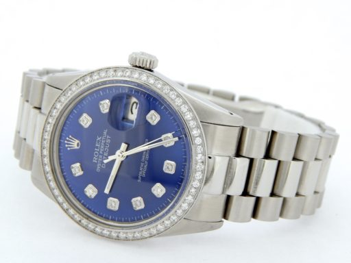 Rolex Stainless Steel Datejust 16014 Blue Diamond-5