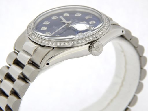 Rolex Stainless Steel Datejust 16014 Blue Diamond-4