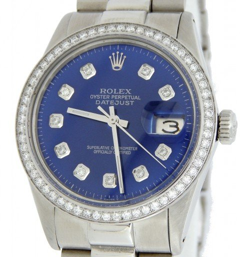 Rolex Stainless Steel Datejust 16014 Blue Diamond-1