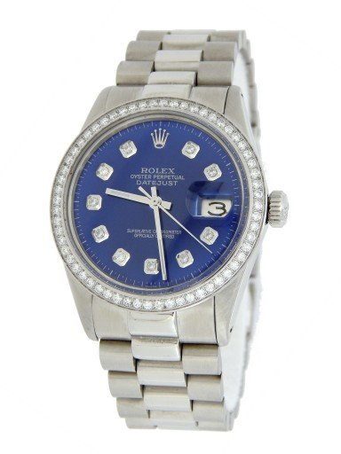 Rolex Stainless Steel Datejust 16014 Blue Diamond-7