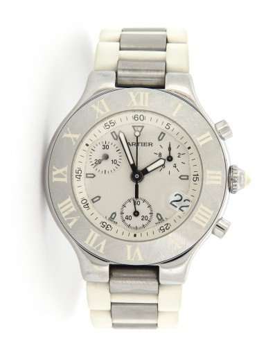 Cartier Stainless Steel Chronoscaph 2424 White -10