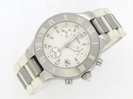 Cartier Stainless Steel Chronoscaph 2424 White -7