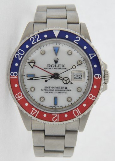 Rolex Stainless Steel GMT Master II 16710 White MOP Diamond-8