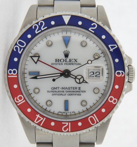 Rolex Stainless Steel GMT Master II 16710 White MOP Diamond-1