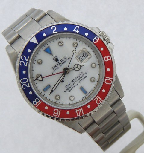Rolex Stainless Steel GMT Master II 16710 White MOP Diamond-6