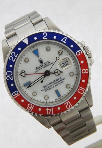 Rolex Stainless Steel GMT Master II 16710 White MOP Diamond-7