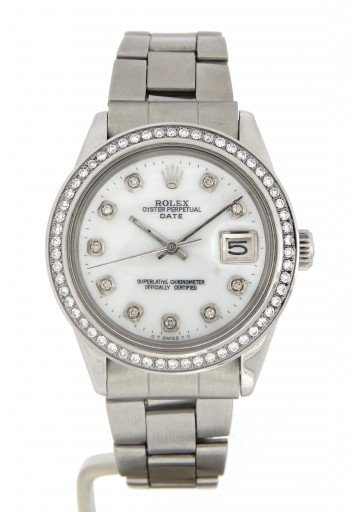 Rolex Stainless Steel Date 1500 White MOP Diamond-8