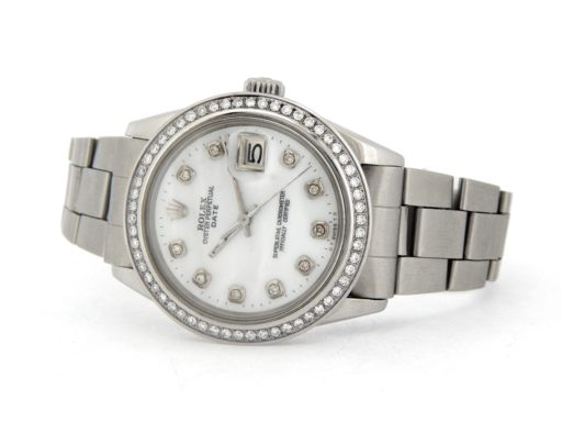 Rolex Stainless Steel Date 1500 White MOP Diamond-6