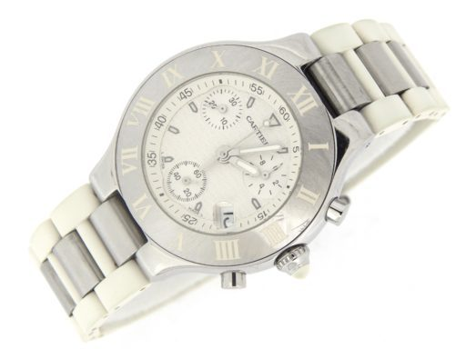 Cartier Stainless Steel Chronoscaph 2424 White -8