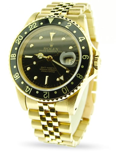Mens Rolex 18K Yellow Gold GMT-Master Black Nipple 16758