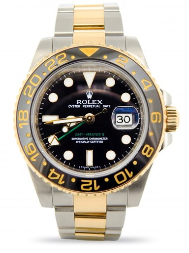 Mens Rolex Two-Tone 18K/SS GMT Master II Black Ceramic 116713