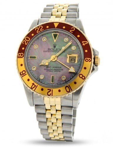 Mens Rolex Two Tone GMT Master Brown Rootbeer Diamond 16753