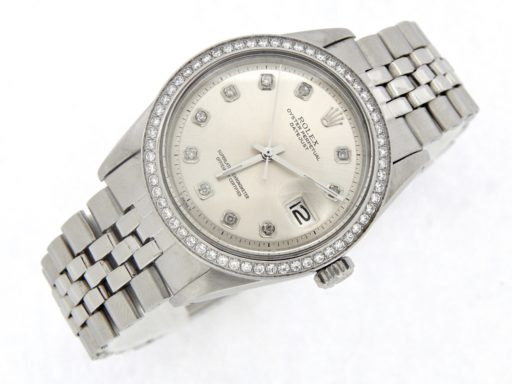 Rolex Stainless Steel Datejust 1603 Silver Diamond-7