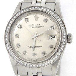 Mens Rolex Stainless Steel Datejust Silver Diamond (SKU 4434912MT)