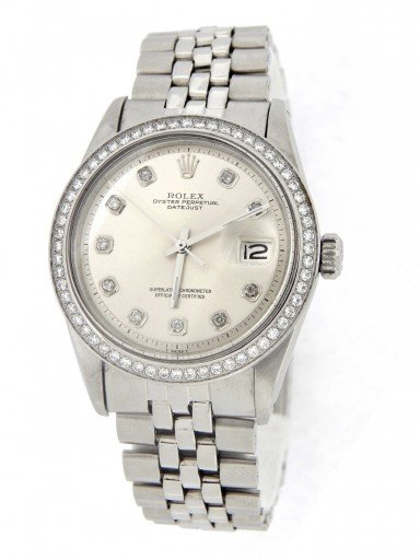 Rolex Stainless Steel Datejust 1603 Silver Diamond-8