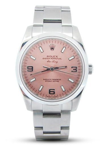 Mens Rolex Stainless Steel Air-King Salmon Arabic 114200