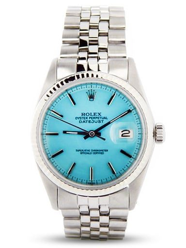 Mens Rolex Datejust Ref 1601 Stainless Steel With Turquoise Dial