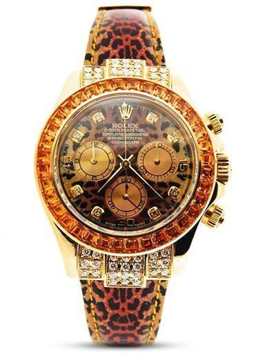 Mens Rolex 18K Yellow Gold Daytona Leopard Diamond 116518