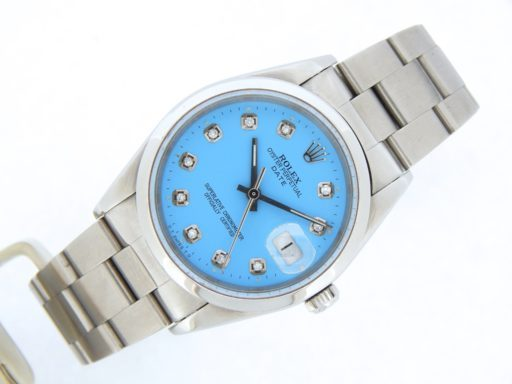 Rolex Stainless Steel Date 15200 Blue Diamond-7