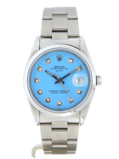Rolex Stainless Steel Date 15200 Blue Diamond-10
