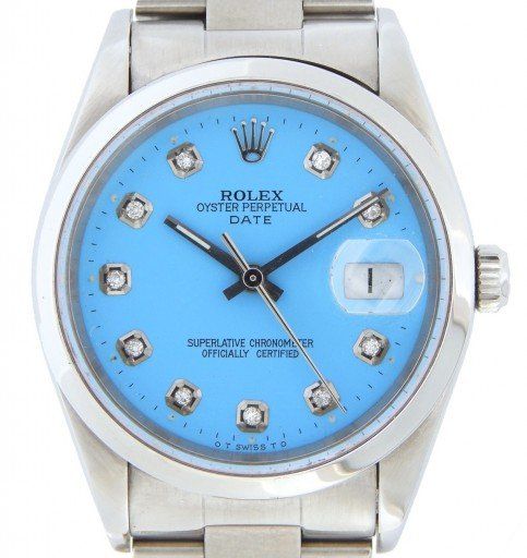 Rolex Stainless Steel Date 15200 Blue Diamond-1