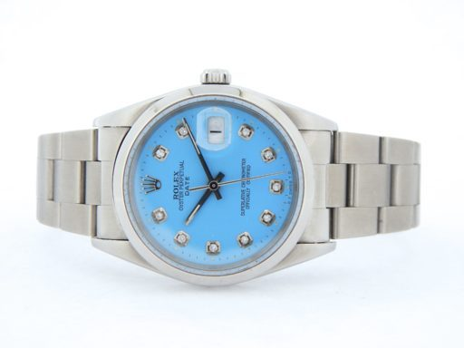 Rolex Stainless Steel Date 15200 Blue Diamond-6