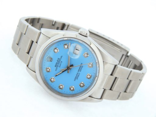 Rolex Stainless Steel Date 15200 Blue Diamond-9