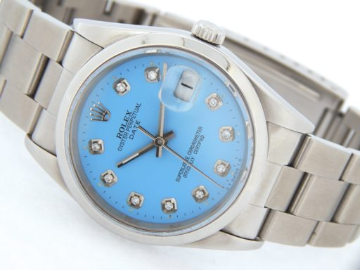 Rolex Stainless Steel Date 15200 Blue Diamond-8