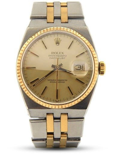 Pre Owned Mens Rolex Two Tone Oysterquartz Datejust Gold Champagne 17013