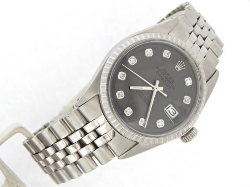 Rolex Stainless Steel Datejust 1603 Slate Gray Diamond-7