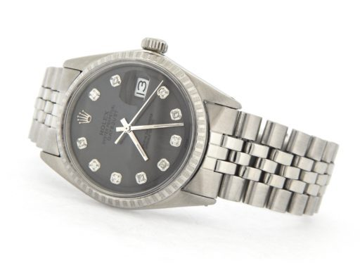 Rolex Stainless Steel Datejust 1603 Slate Gray Diamond-6