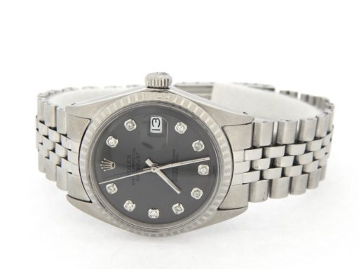 Rolex Stainless Steel Datejust 1603 Slate Gray Diamond-5