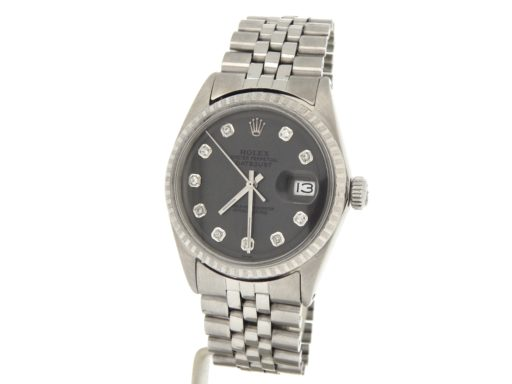 Rolex Stainless Steel Datejust 1603 Slate Gray Diamond-8