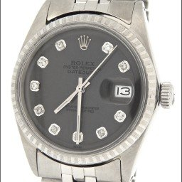 Mens Rolex Stainless Steel Datejust Slate Gray Diamond 1603