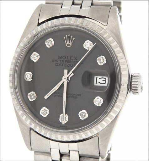 Rolex Stainless Steel Datejust 1603 Slate Gray Diamond-1