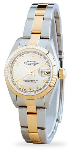 Rolex Datejust Ladies Two-Tone 18K/SS Silver Roman 79173