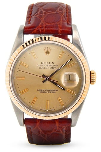 Used Rolex Mens Two-Tone 18K/SS Datejust Champagne 16233