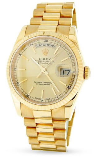 Buy Used Rolex Mens 18K Gold Day Date President Champagne 118238