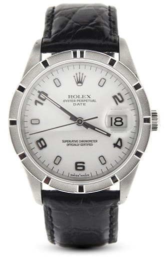 Mens Rolex Stainless Steel Date White Arabic 15210