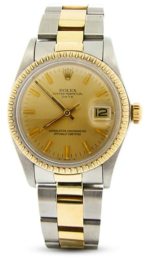 Pre Owned Mens Rolex Two-Tone Date with a Gold/Champagne Dial 1505