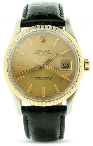 Pre Owned Mens Rolex Two-Tone Date with a Gold/Champagne Dial 15053