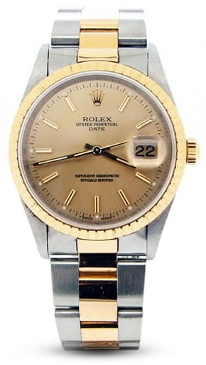 Pre Owned Mens Rolex Two-Tone Date with a Gold/Champagne Dial 15223