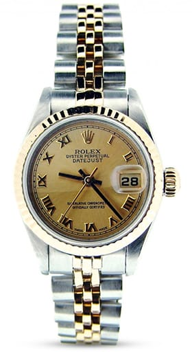 Rolex Datejust Ladies Two Tone 18K/SS Champagne Roman 69173