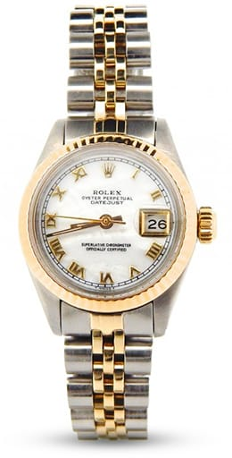 Rolex Datejust Ladies Two Tone 14K/SS White MOP Roman 6917